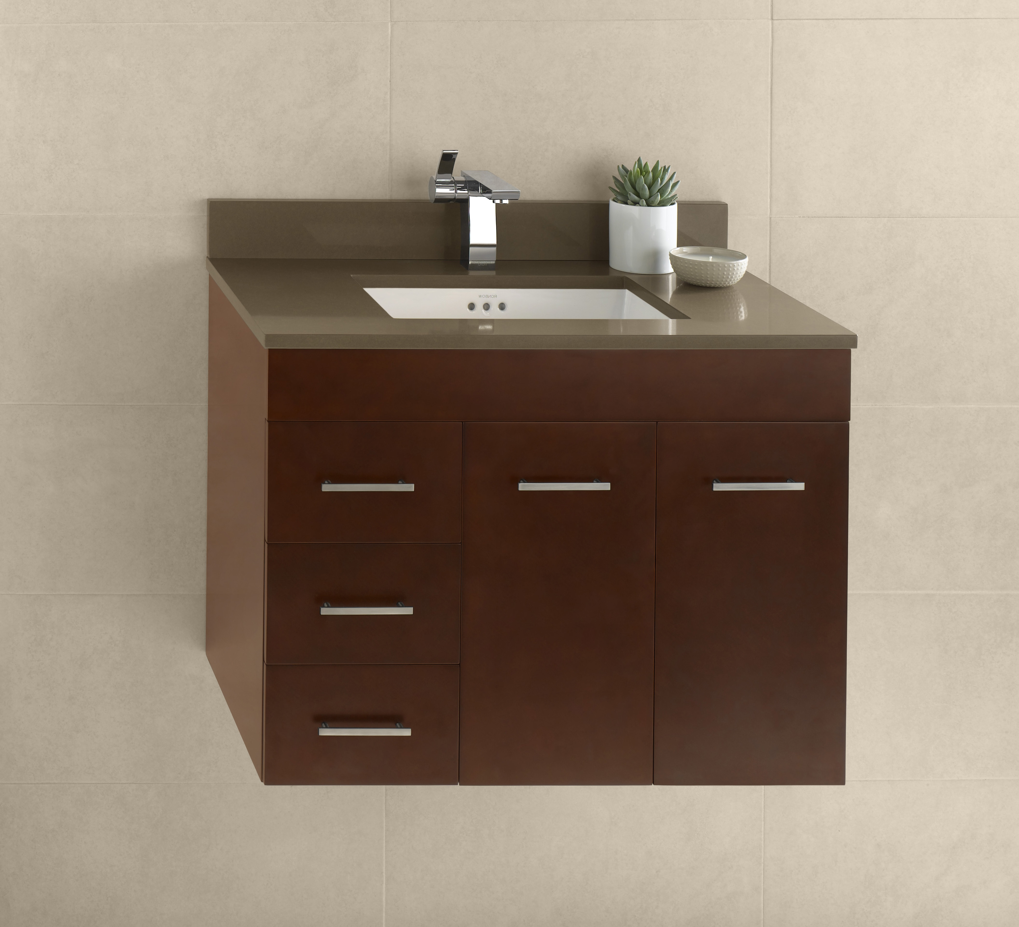 "Ronbow Bella 31"" Wall Mount Bathroom Vanity Base Cabinet in Dark Cherry - Doors on Right"