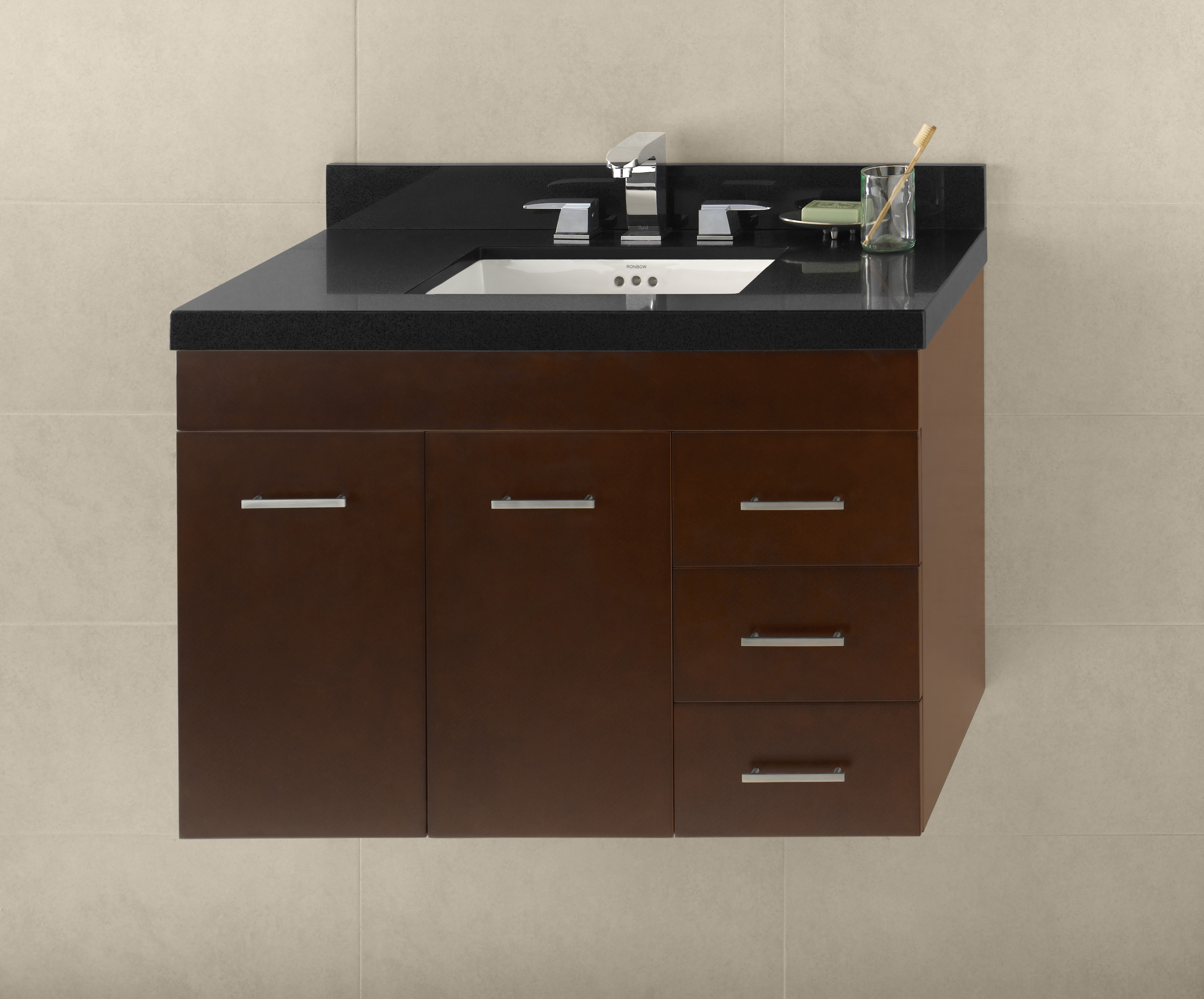 "Ronbow Bella 36"" Wall Mount Bathroom Vanity Base Cabinet in Dark Cherry - Doors on Left"