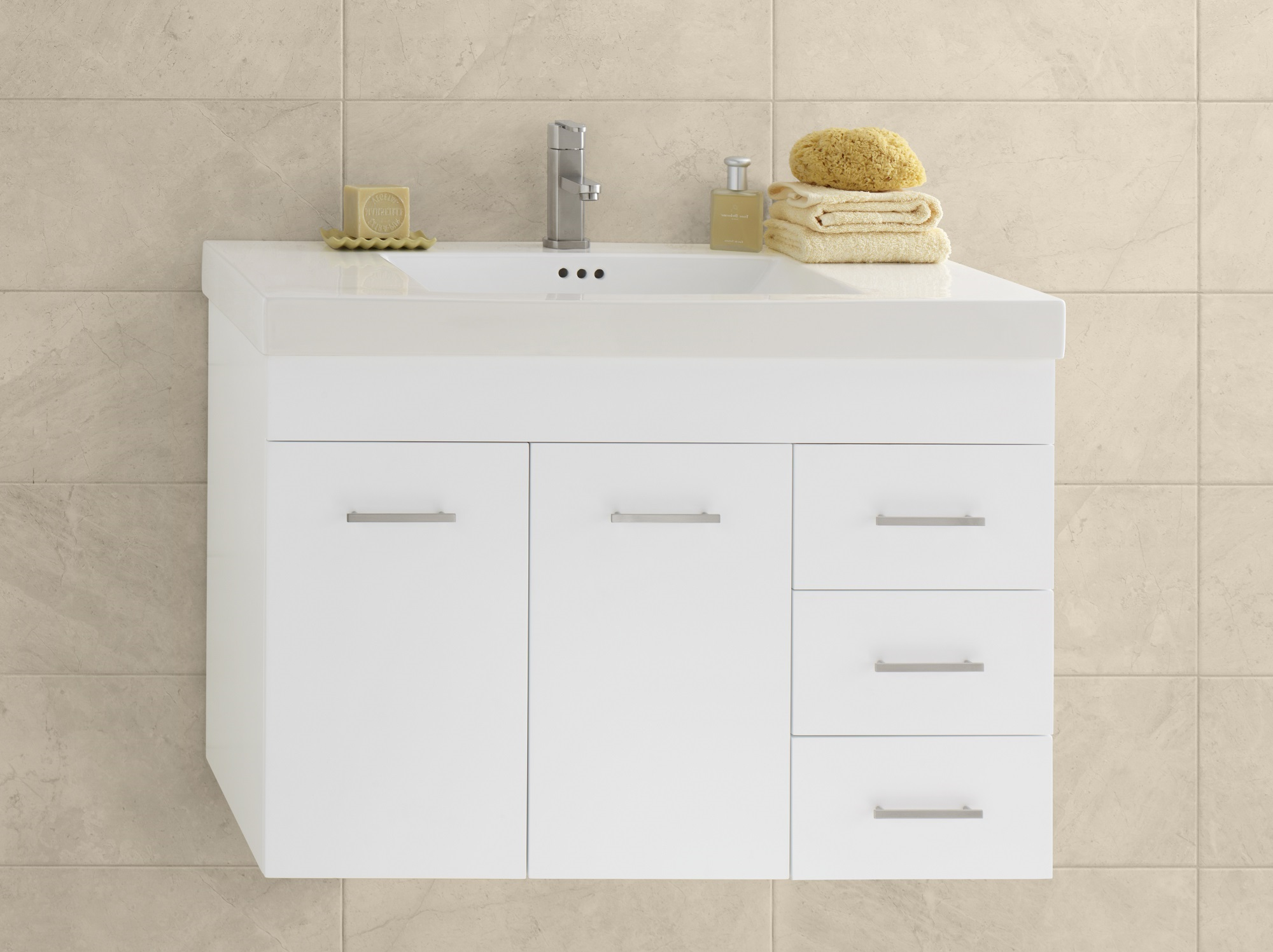 "Ronbow Bella 36"" Wall Mount Bathroom Vanity Base Cabinet in White - Doors on Left"