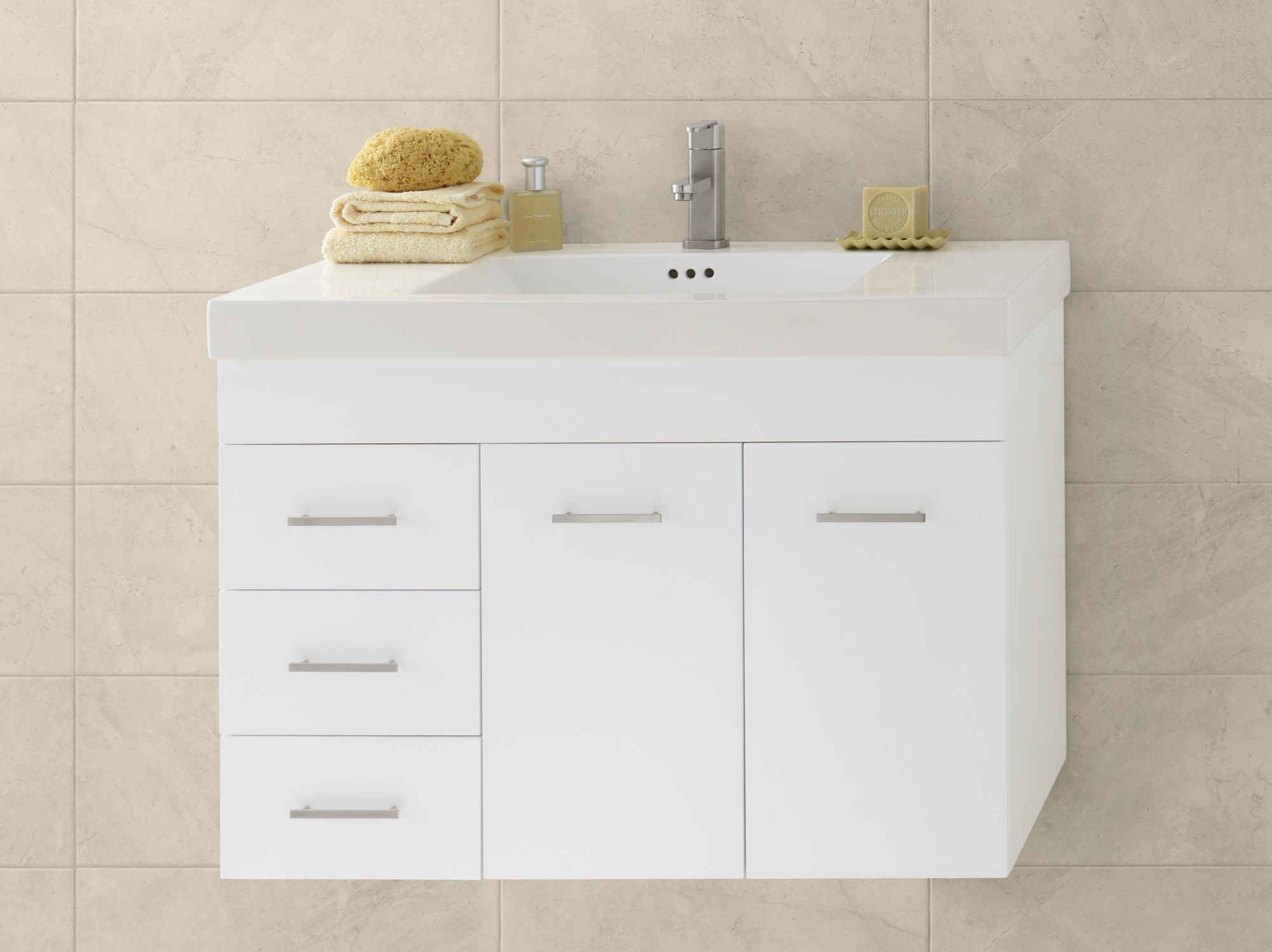 "Ronbow Bella 36"" Wall Mount Bathroom Vanity Base Cabinet in White - Doors on Right"
