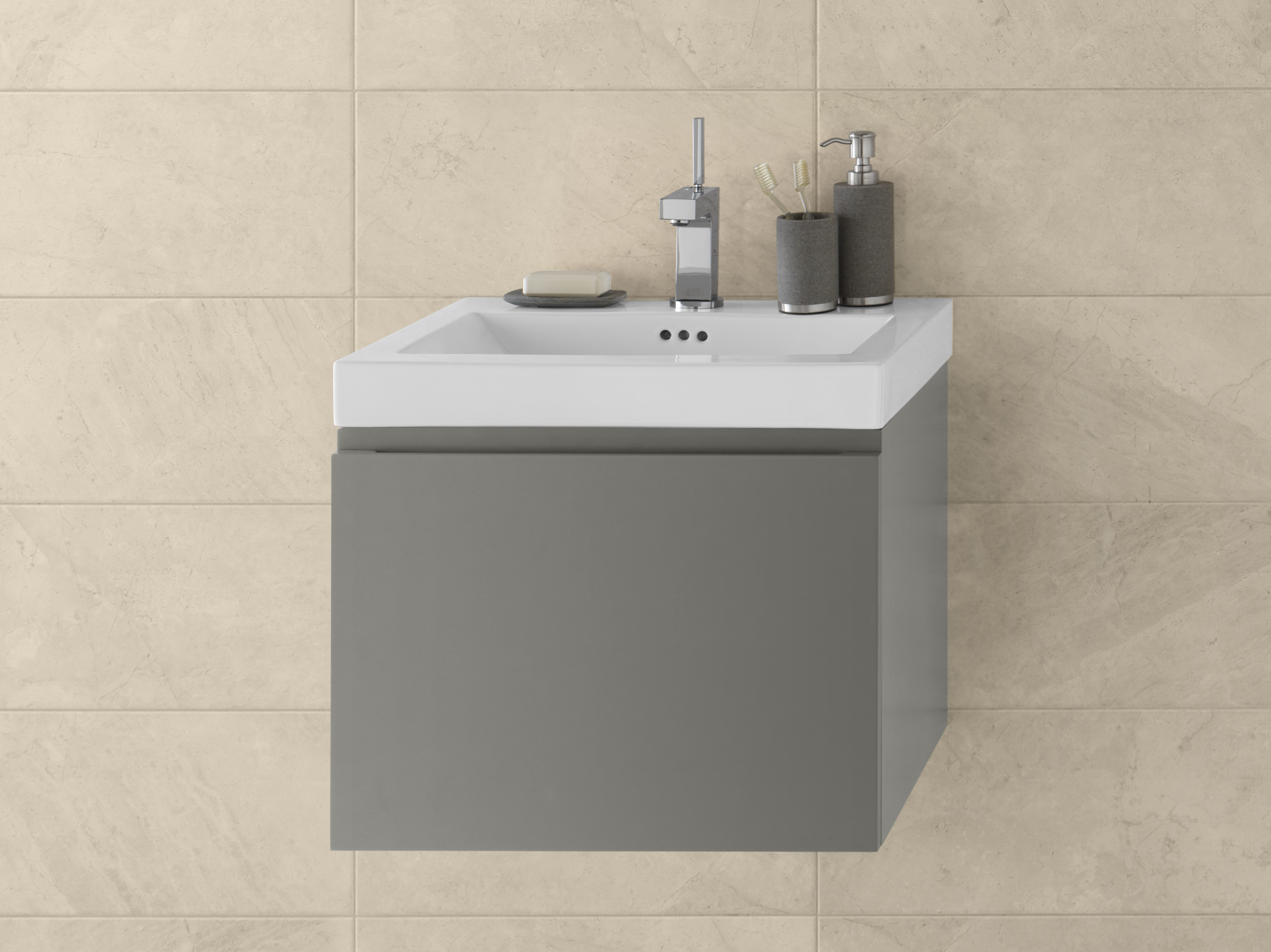"Ronbow Ariella 23"" Wall Mount Bathroom Vanity Base Cabinet in Slate Gray"