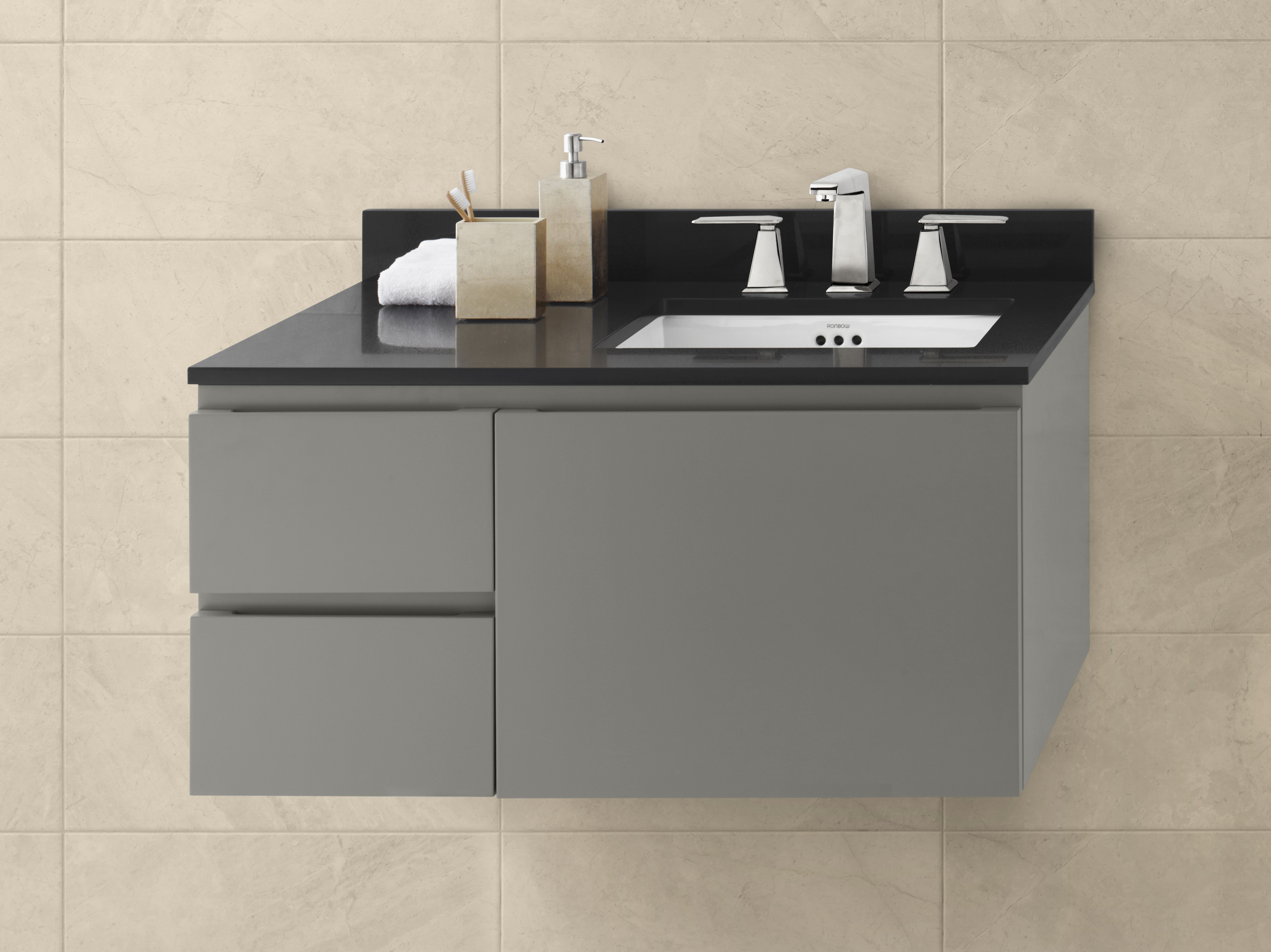 "Ronbow Vanessa 36"" Wall Mount Bathroom Vanity Base Cabinet in Slate Gray - Large Drawer on Left"