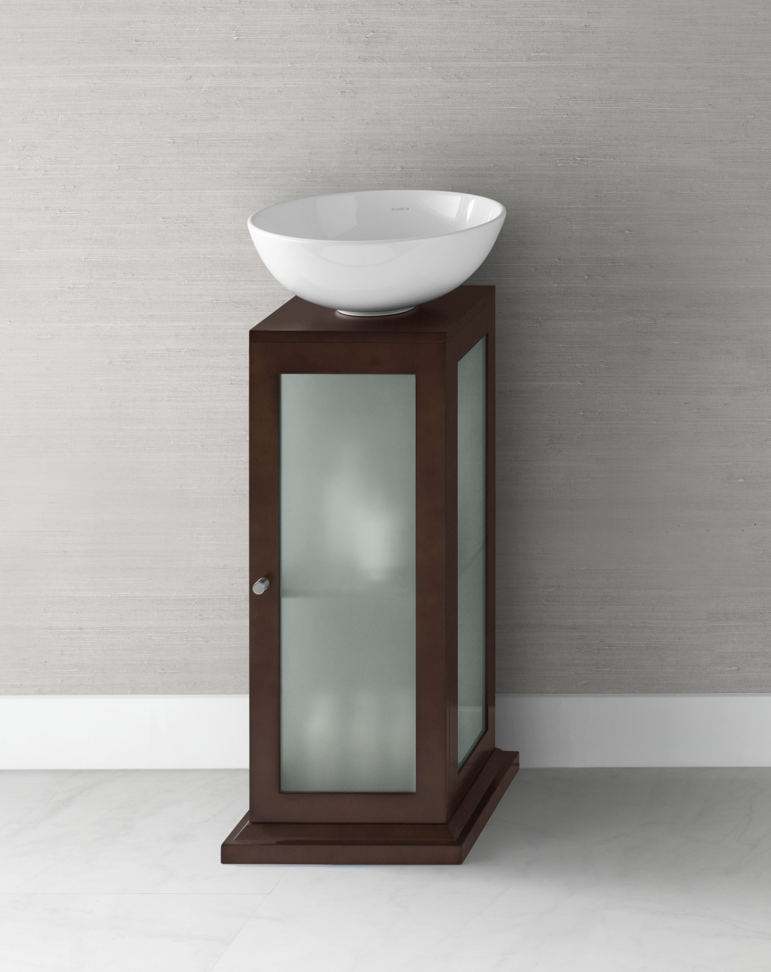 "Ronbow Solis 15"" Wood Vanity Pedestal w/Drain Hole in Dark Cherry"