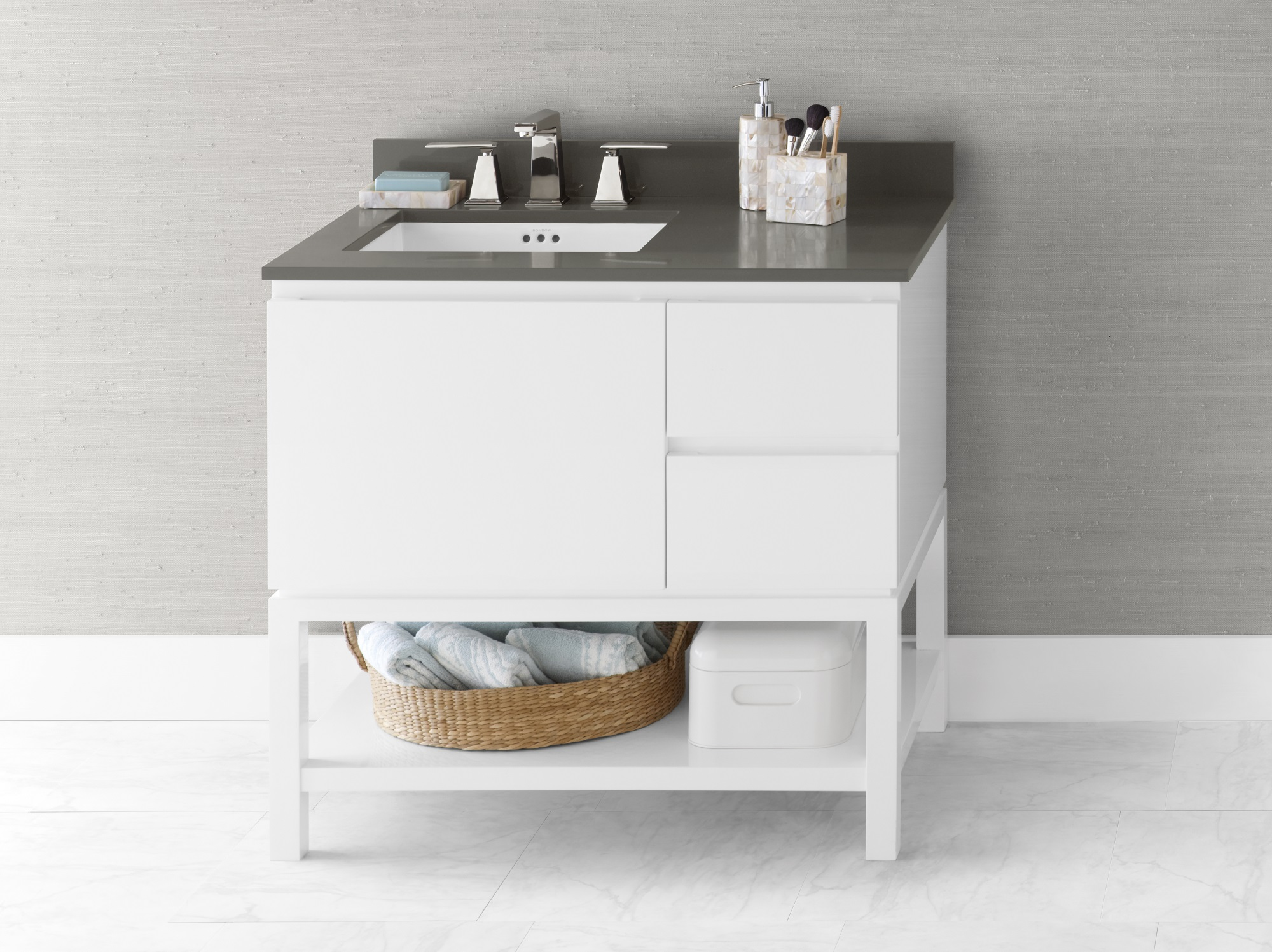 Ronbow 036036 L E23 Chloe 36 Bathroom Vanity Base Cabinet In Glossy White Large Drawer On Left 036036 L E23 Snyder Diamond