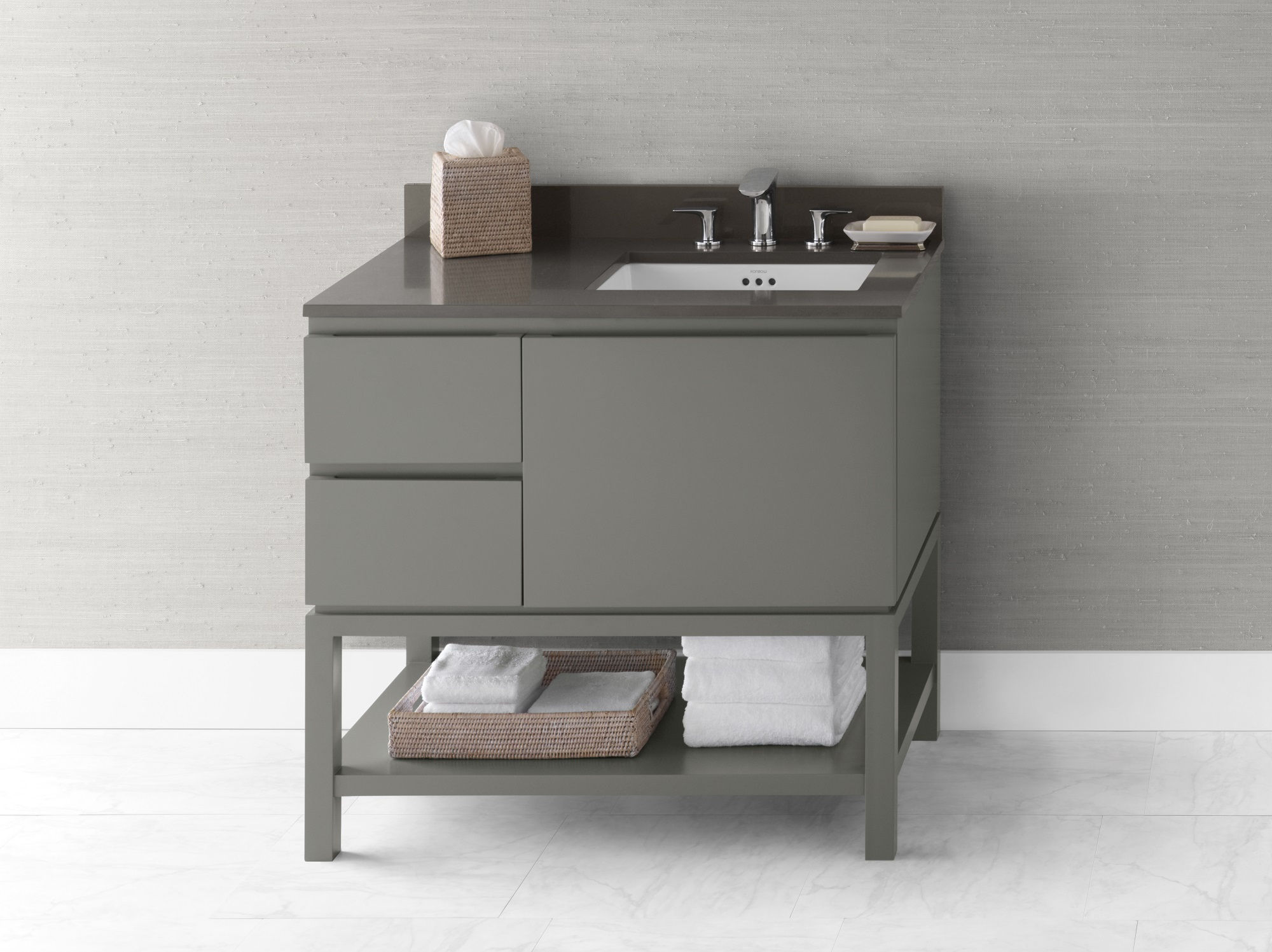 Ronbow 036036 R E12 Chloe 36 Bathroom Vanity Base Cabinet In Slate Gray Large Drawer On Right 036036 R E12 Snyder Diamond