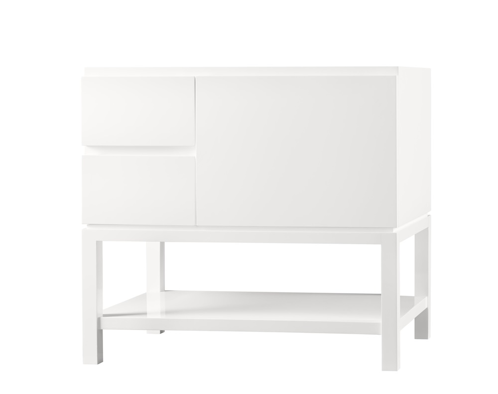 Ronbow 036036 R E23 Chloe 36 Bathroom Vanity Base Cabinet In Glossy White Large Drawer On Right 036036 R E23 Snyder Diamond
