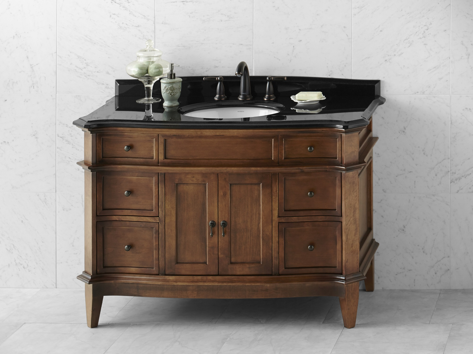 "Ronbow Solerno 48"" Bathroom Vanity Cabinet Base in Caf? Walnut"