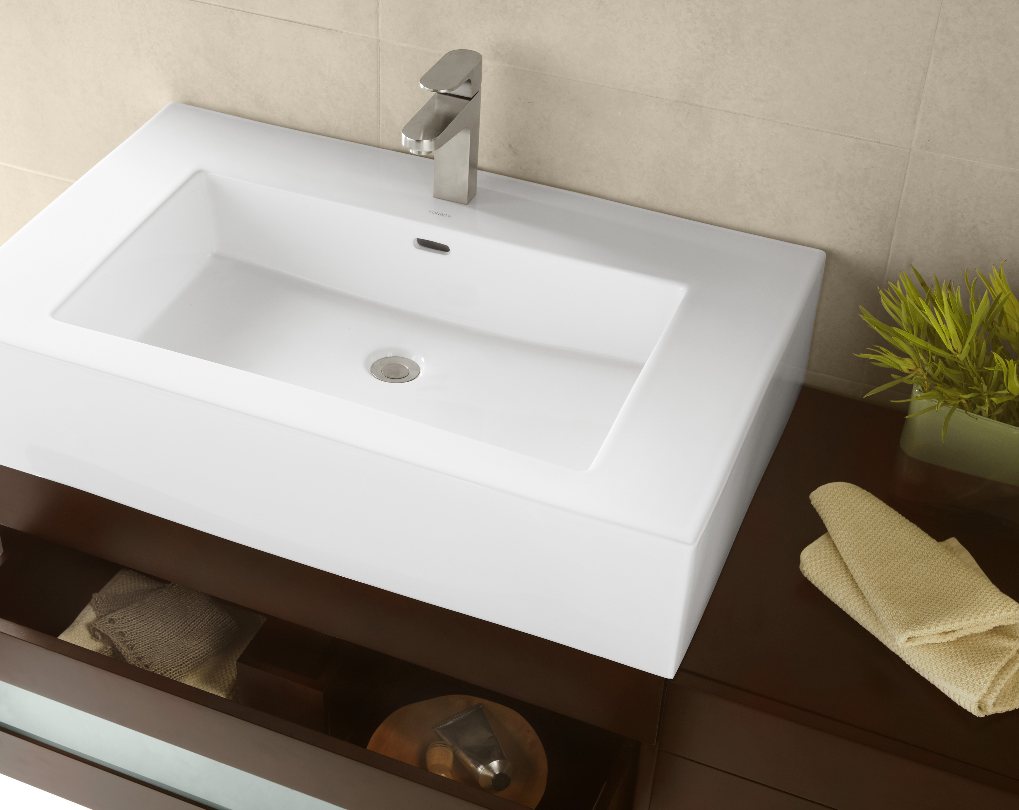 "Ronbow Prominent? 32"" Ceramic Sinktop with Single Faucet Hole in White"