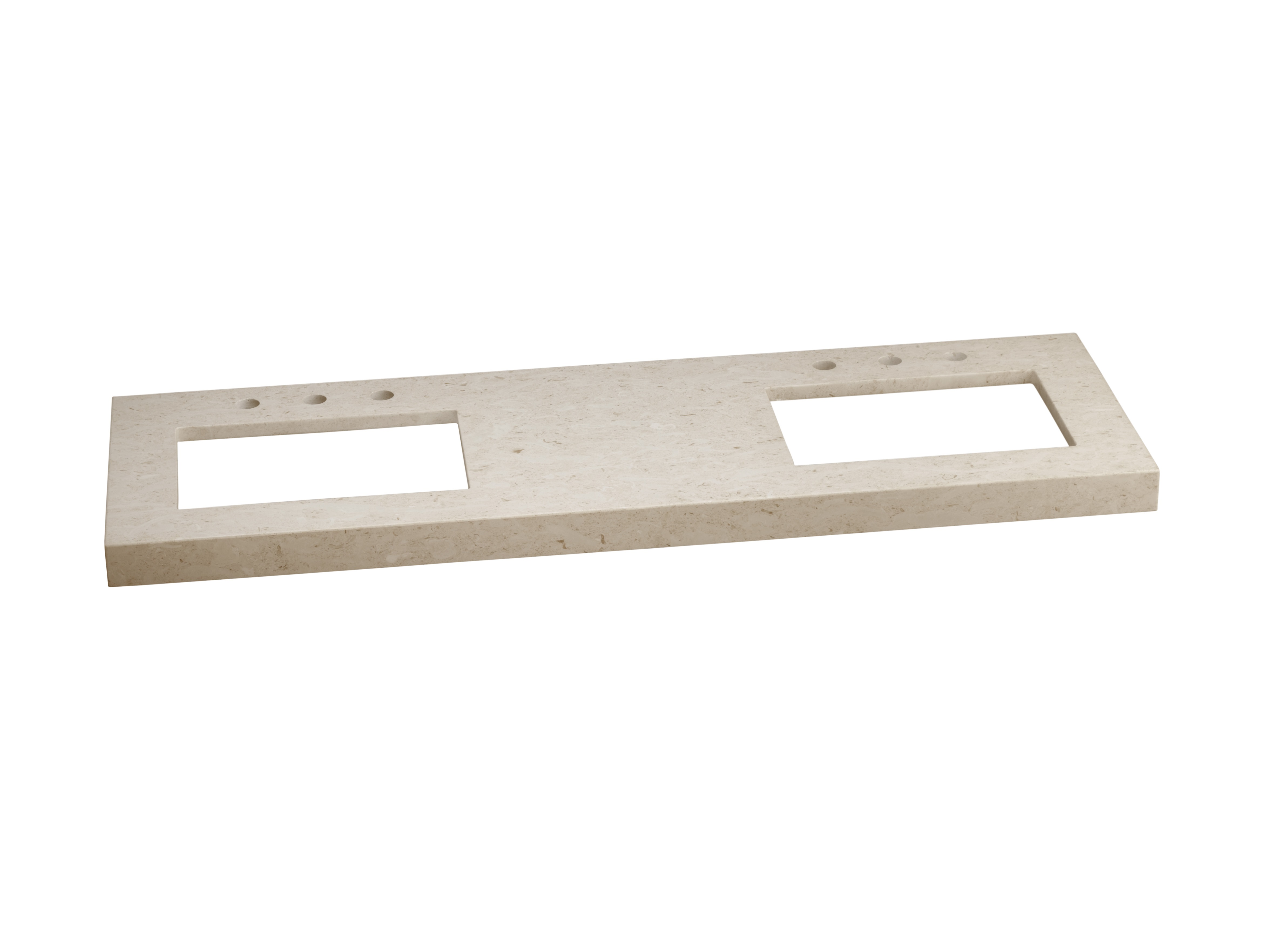 """Ronbow WideAppeal? 62"""" x 19"""" Marble Vanity Top in Cream Beige - 2 3/4"""" Thick"""