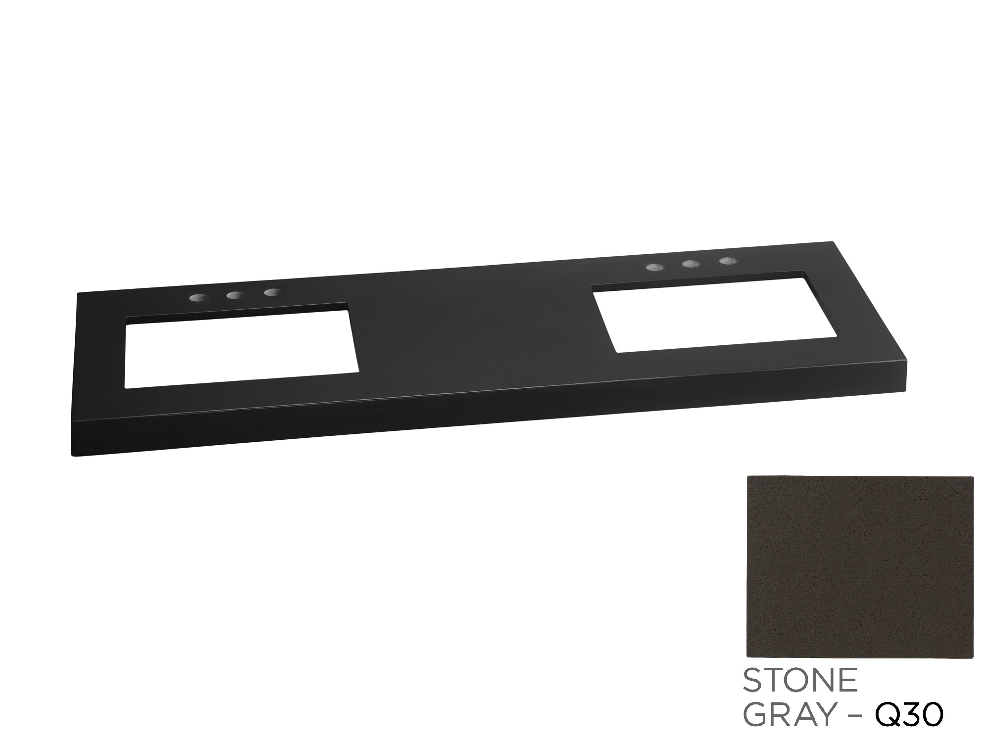 """Ronbow TechStone? WideAppeal? 61"""" x 22"""" Vanity Top in Stone Gray  - 2 3/4"""" Thick"""
