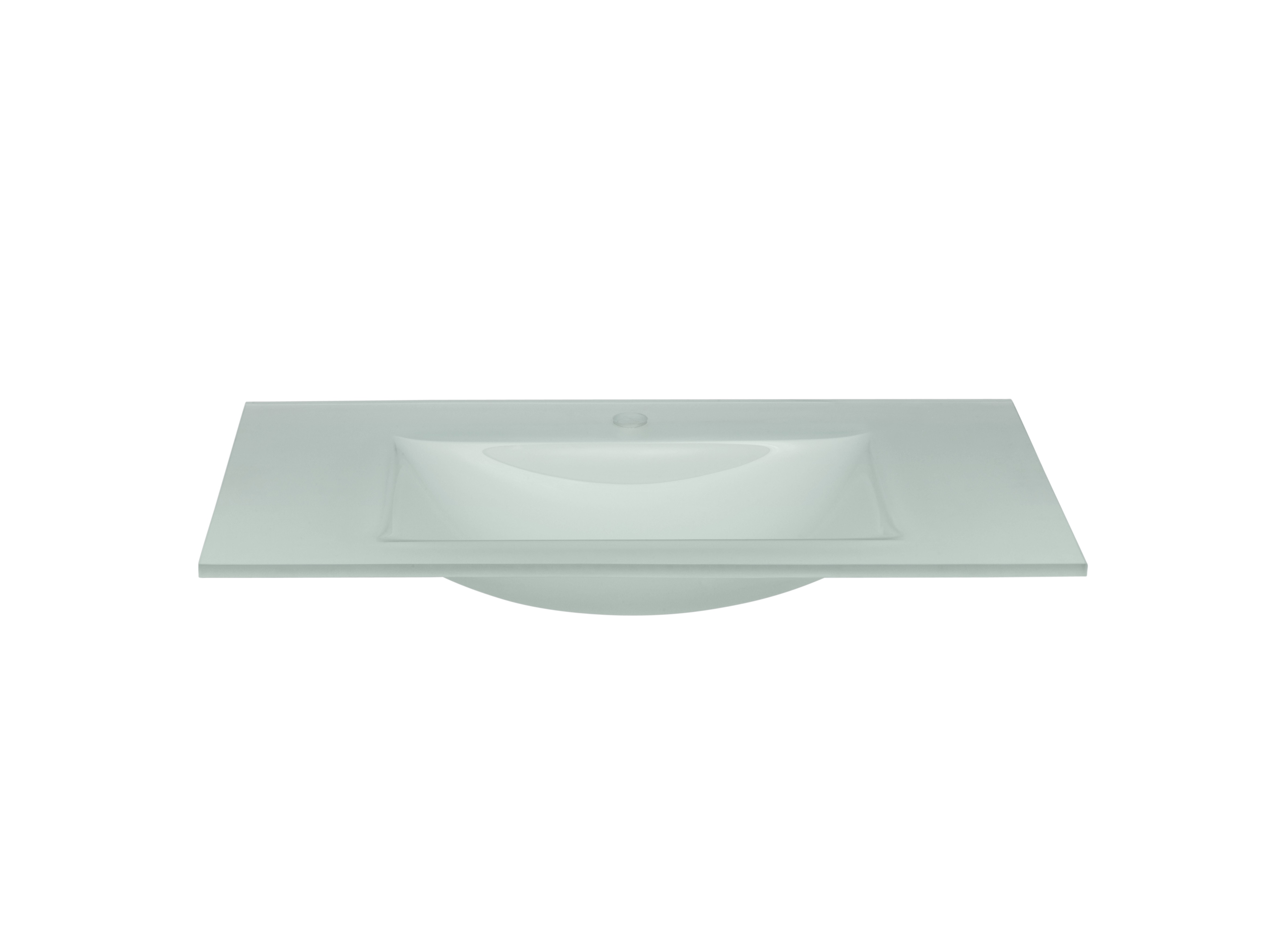 "Ronbow 37"" Tempered Glass Sinktop with Single Faucet Hole in Obscure Glass"