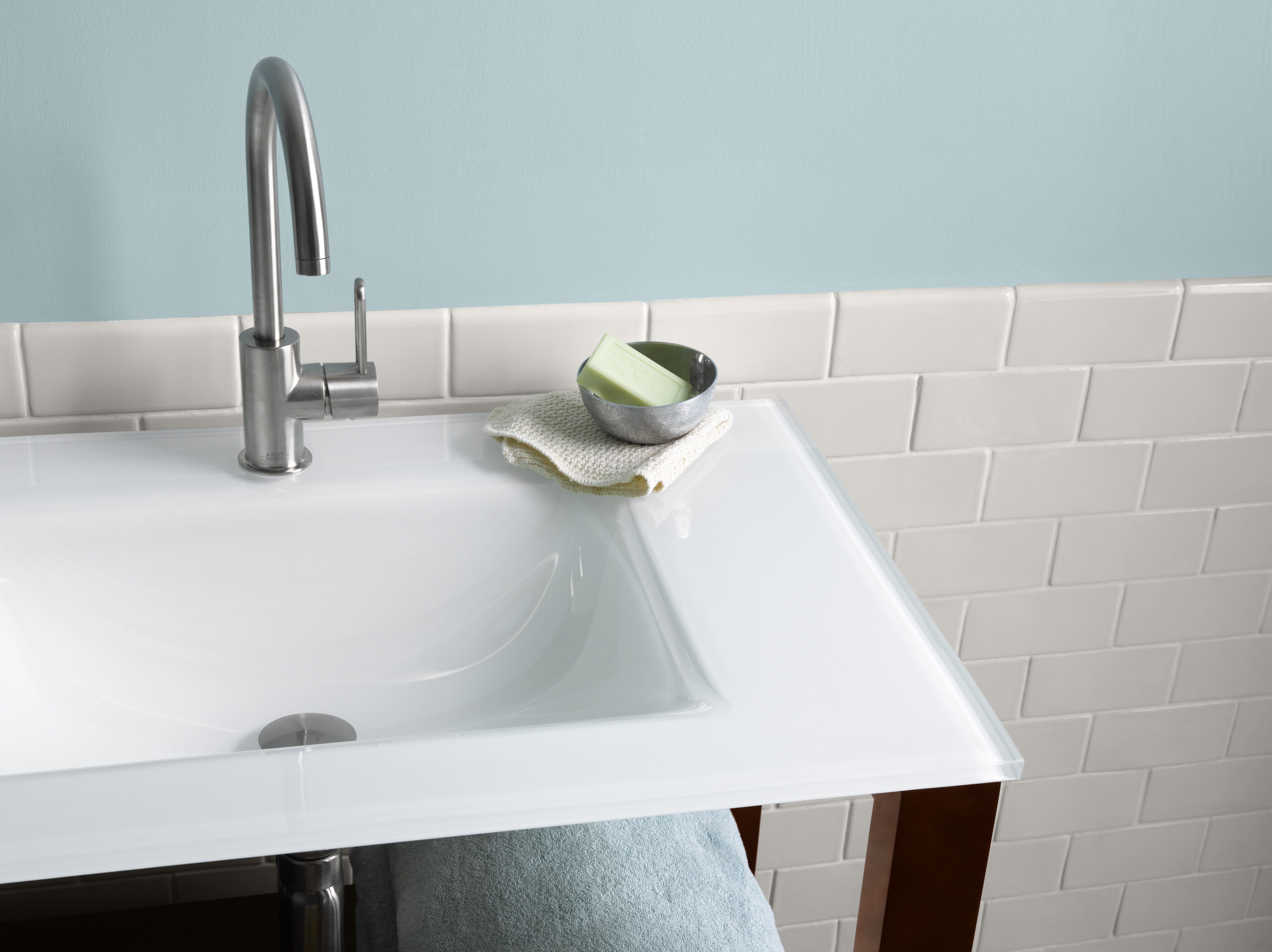 "Ronbow 37"" Tempered Glass Sinktop with Single Faucet Hole in Cream White Glass"