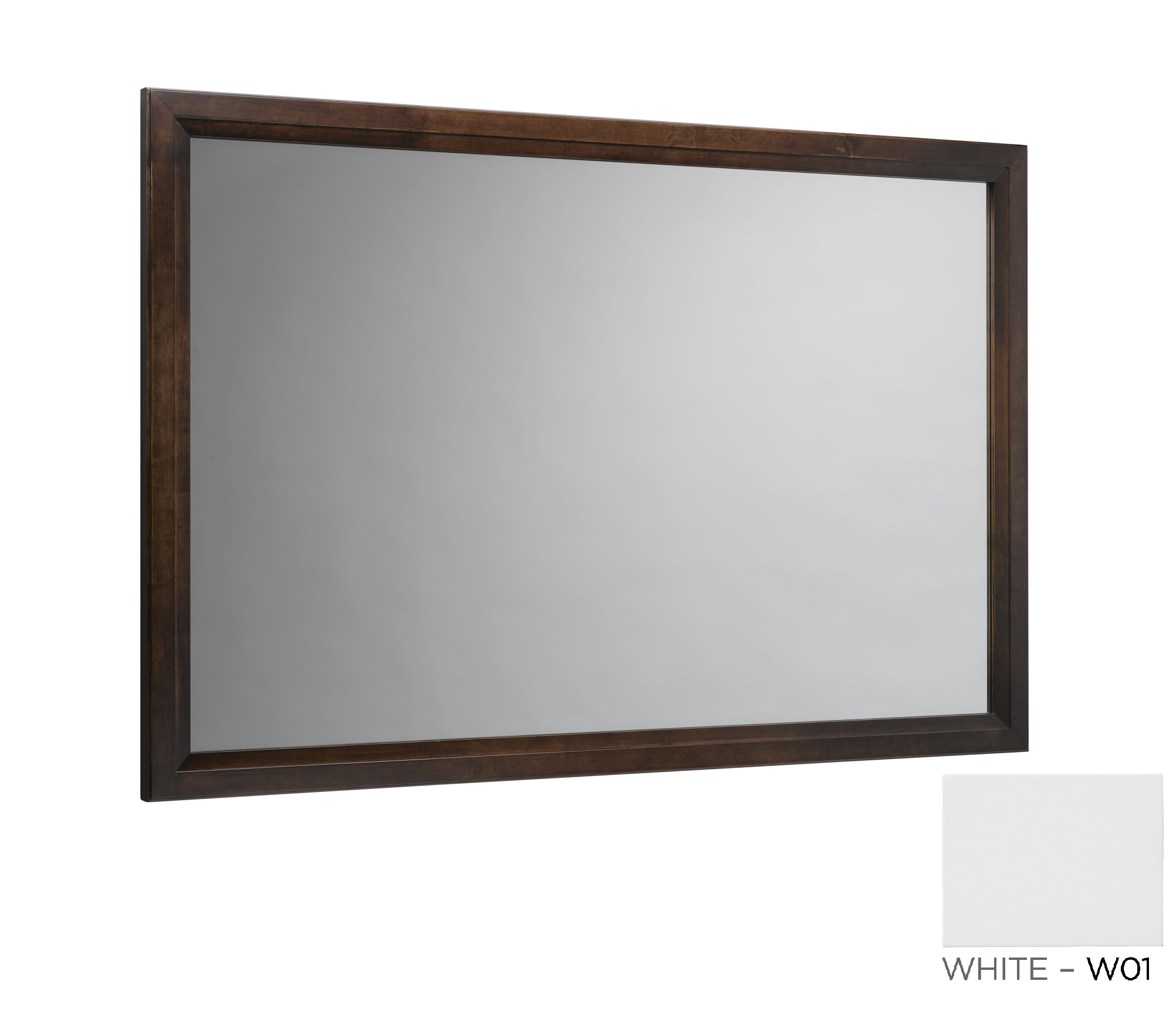 "Ronbow Transitional 60"" x 39"" Solid Wood Framed Bathroom Mirror in White"