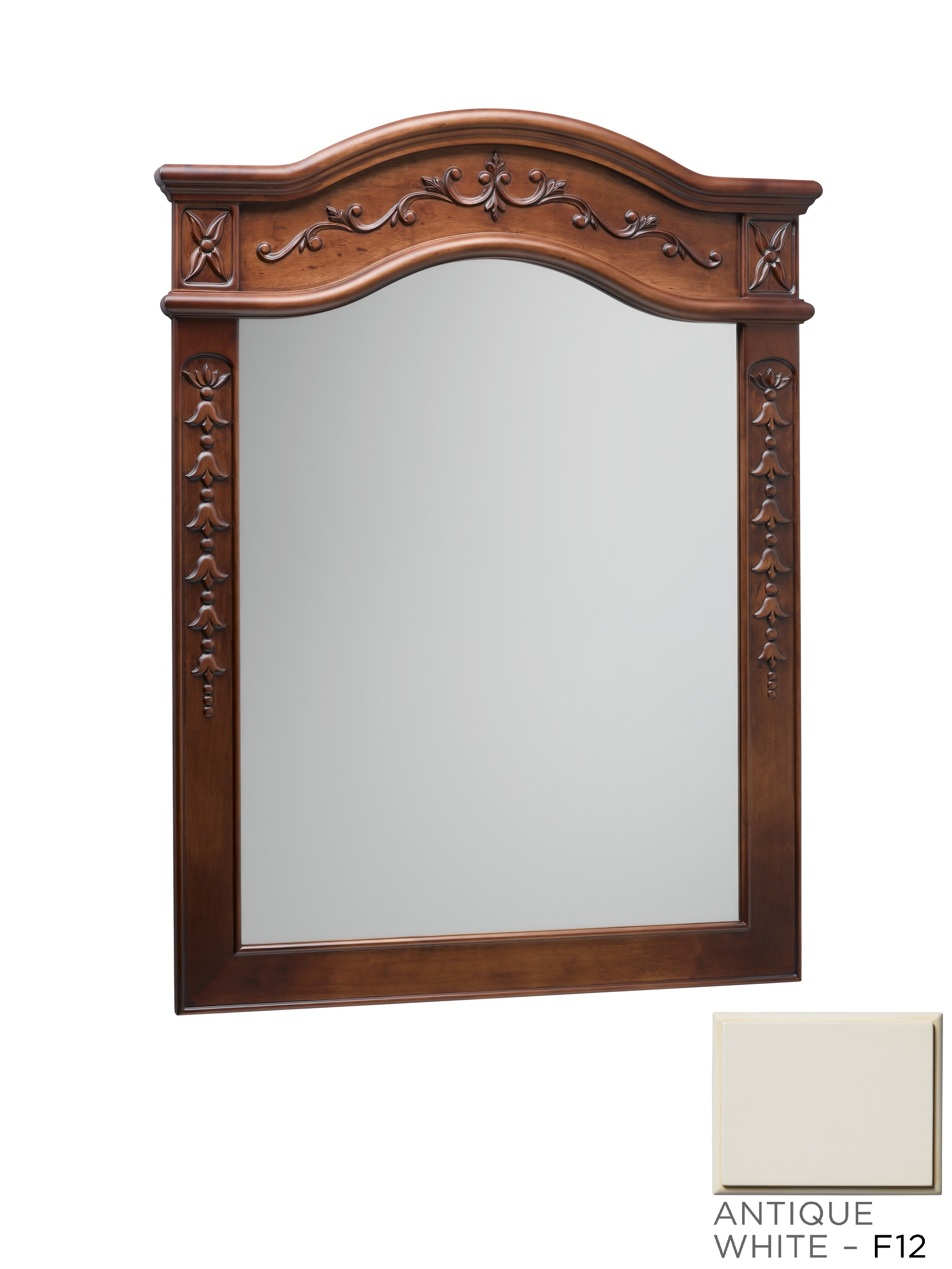 "Ronbow Bordeaux Traditional 24"" x 34"" Solid Wood Framed Bathroom Mirror in Antique White"