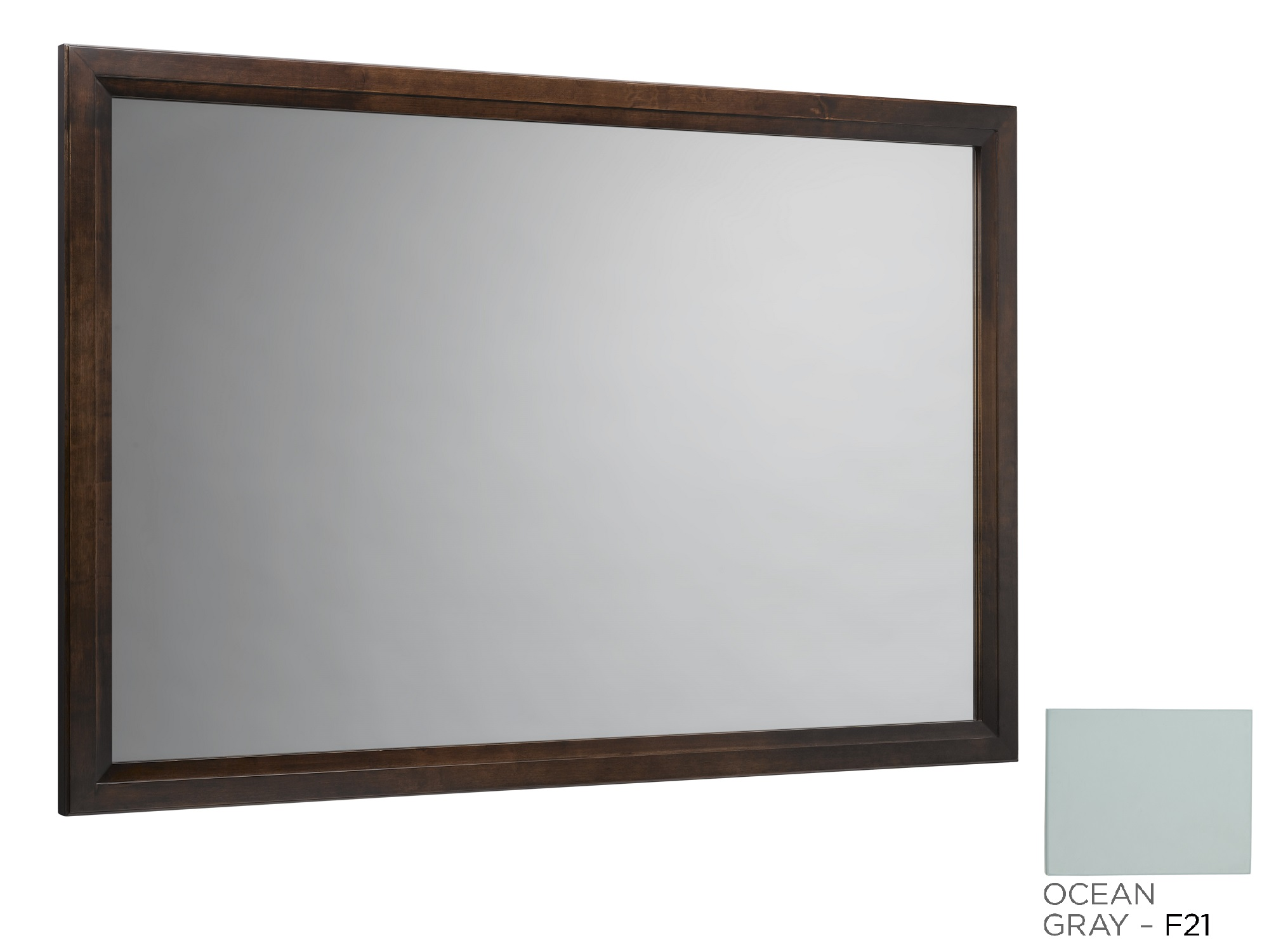 "Ronbow Transitional 60"" x 39"" Solid Wood Framed Bathroom Mirror in Caf? Walnut"