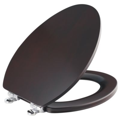 Kallista Maplewood Slow-Close Toilet Seat, Elongated with Brushed Bronze Trim
