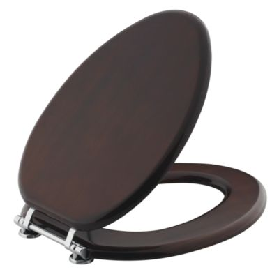 Kallista For Country by Michael S Smith Toilet Seat, Elongated, Burl Mahogany Finish with Nickel Silver Trim