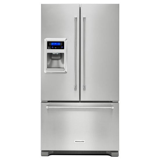 Model: 3KRFC400ESSWEB | KitchenAid 20 cu. Ft. 36-Inch Width Counter Depth French Door Refrigerator with Exterior Ice and Water