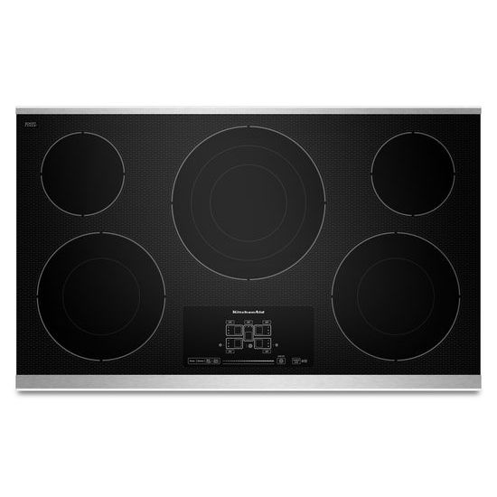 """KitchenAid 36"""" Electric Cooktop with 5 Radiant Elements and Touch-Activated Controls"""