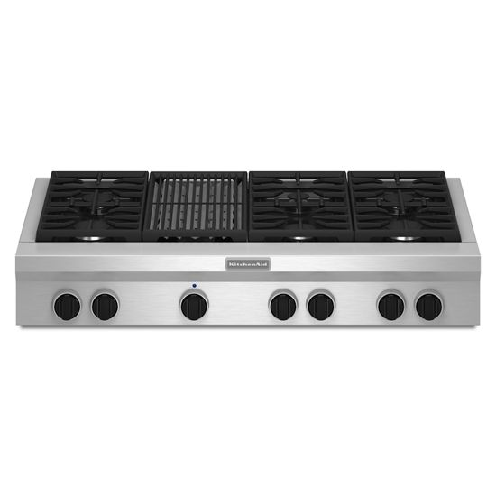Model: KGCU482VSS | 48-Inch 6 Burner with Grill, Gas Rangetop, Commercial-Style