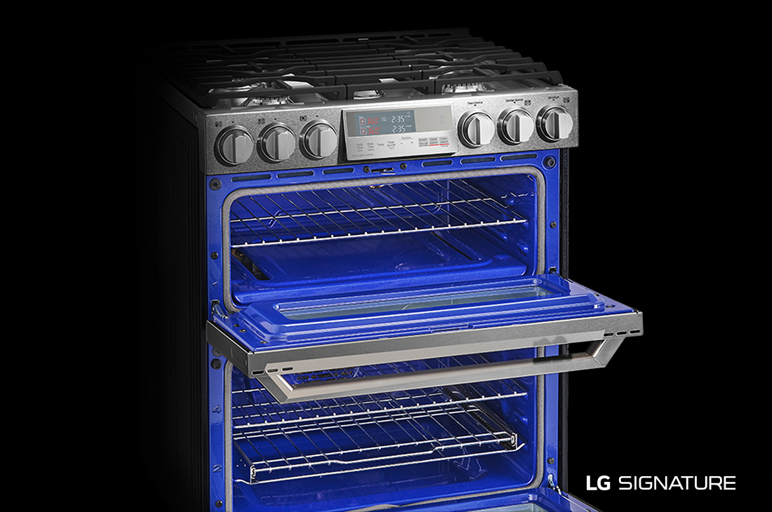 Model: LUTG4519SN | LG Signature LG SIGNATURE 6.9 cu.ft. Smart wi-fi Enabled Gas Double Oven Slide-In Range with ProBake Convection®