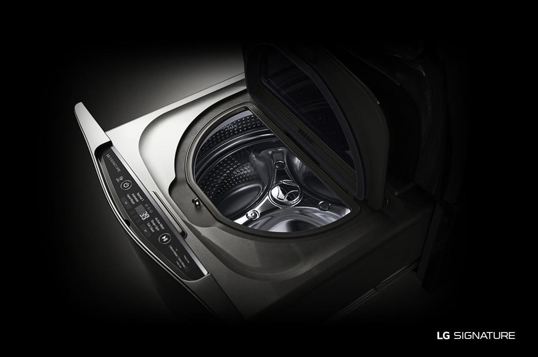 Model: WD205CK | LG Signature LG SIGNATURE 1.0 cu. ft. LG SideKick™ Pedestal Washer, LG TWINWash™ Compatible