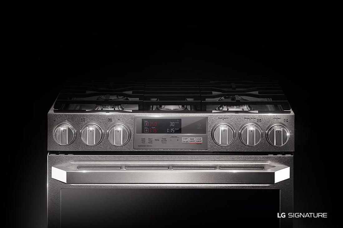 Model: LUTD4919SN | LG Signature LG SIGNATURE 7.3 cu.ft. Smart wi-fi Enabled Dual Fuel Double Oven Range with ProBake Convection®