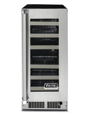 "Viking 15""W WINE CELLAR- CLEAR GLASS- STAINLESS"