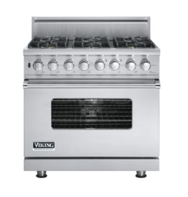 "Viking PRO DF 36""W SEALED BURNER RANGE-6B SS/LP"