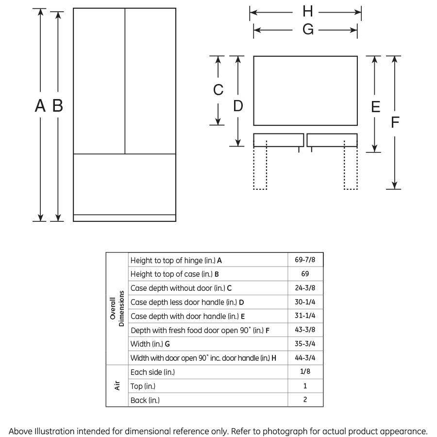Monogram Zwe23pshss Energy Star 231 Cu Ft Counter Fridge Door Alarm Circuit Diagram Depth French Refrigerator