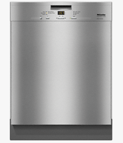 G4948 SCU  Pre-finished, full-size dishwasher with visible control panel, cutlery basket