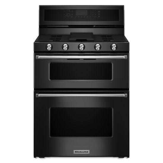 Model: KFGD500EBL | KitchenAid 30-Inch 5 Burner Gas Double Oven Convection Range