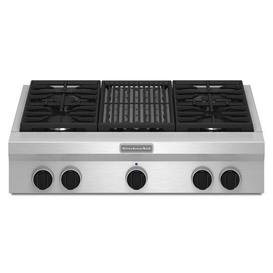 Model: KGCU462VSS | KitchenAid 36-Inch 4 Burner with Grill, Gas Rangetop, Commercial-Style