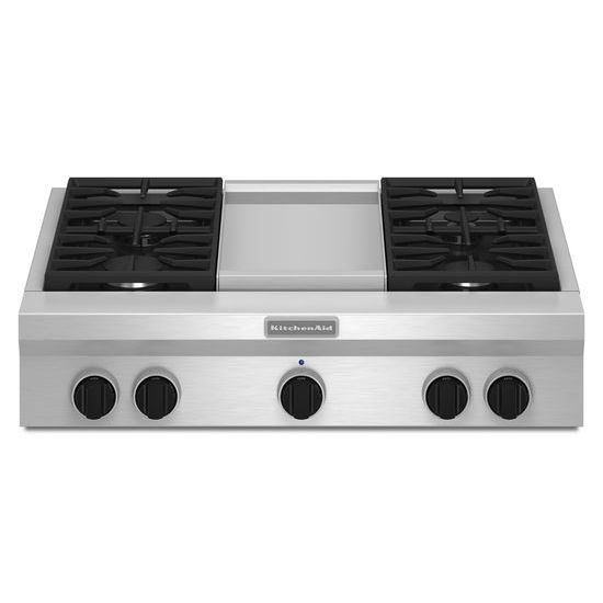 36-Inch 4 Burner with Griddle, Gas Rangetop, Commercial-Style