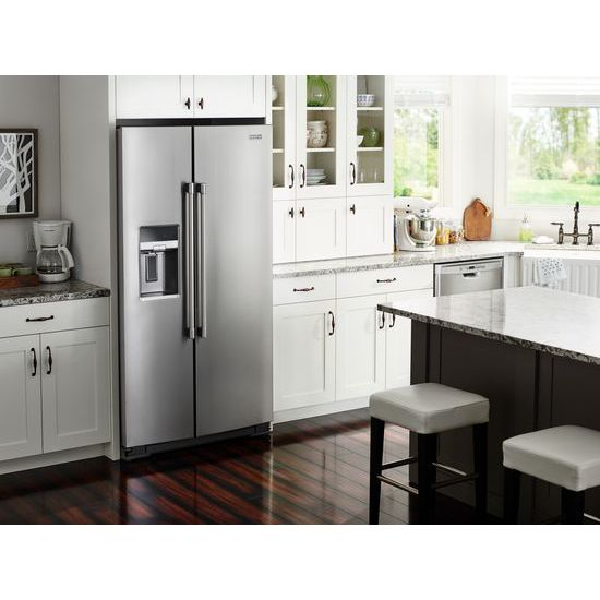 Model: MSS26C6MFZ | Maytag 36- Inch Wide Side-by-Side Refrigerator with External Ice and Water- 26 Cu. Ft.