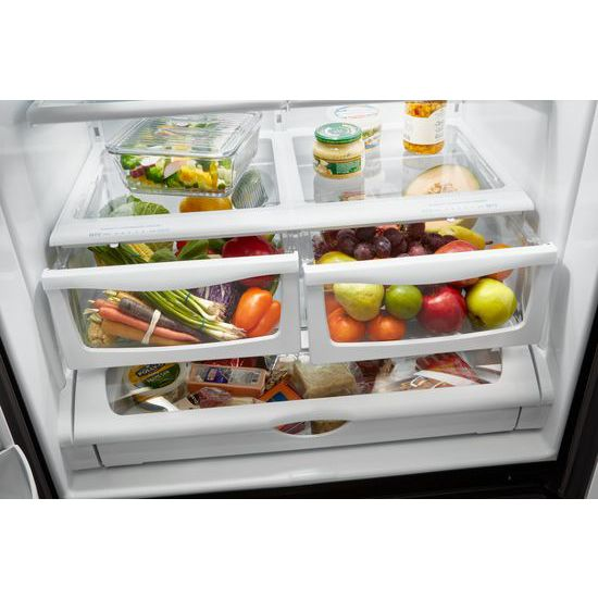 Model: 3WRF555SDFZWEB | Whirlpool 36-inch Wide French Door Refrigerator - 25 cu. ft.