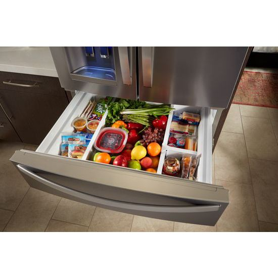 Model: 4WRX735SDHZWEB | Whirlpool 36-Inch Wide French Door Refrigerator - 25 cu. ft.