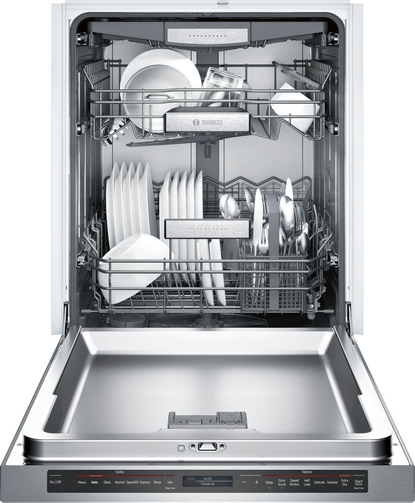"Model: SHE89PW75N | Bosch Benchmark®24"" Recessed Handle DishwasherSHE89PW75NStainless steel"