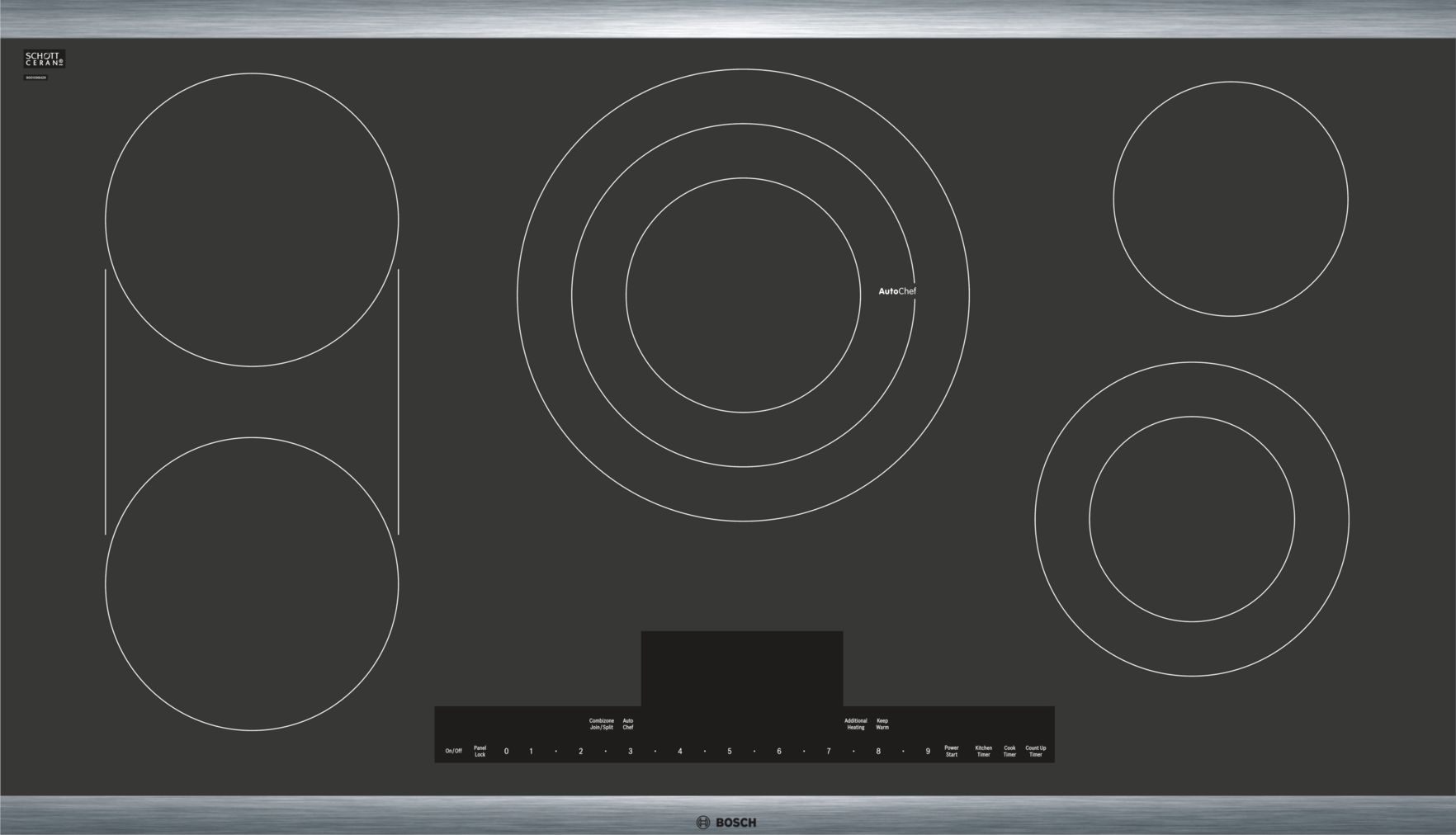 "Bosch Benchmark®36"" Touch Control Electric Cooktop, NETP668SUC, Black with Stainless Steel Frame"
