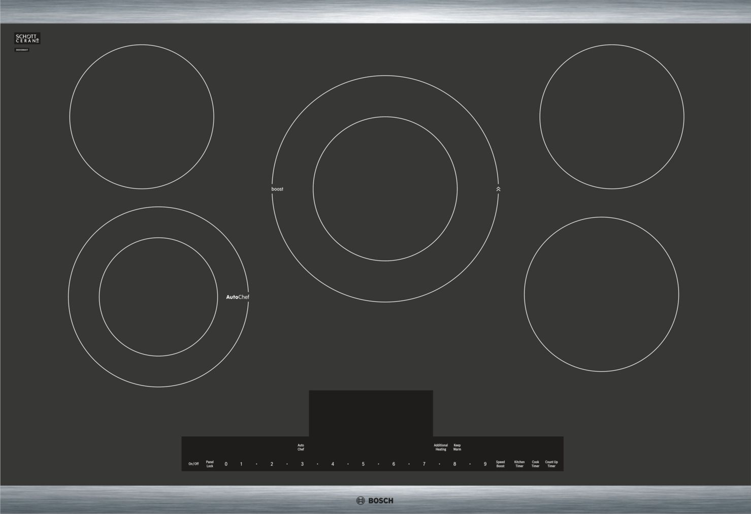 "Bosch Benchmark®30"" Touch Control Electric Cooktop, NETP068SUC, Black with Stainless Steel Frame"
