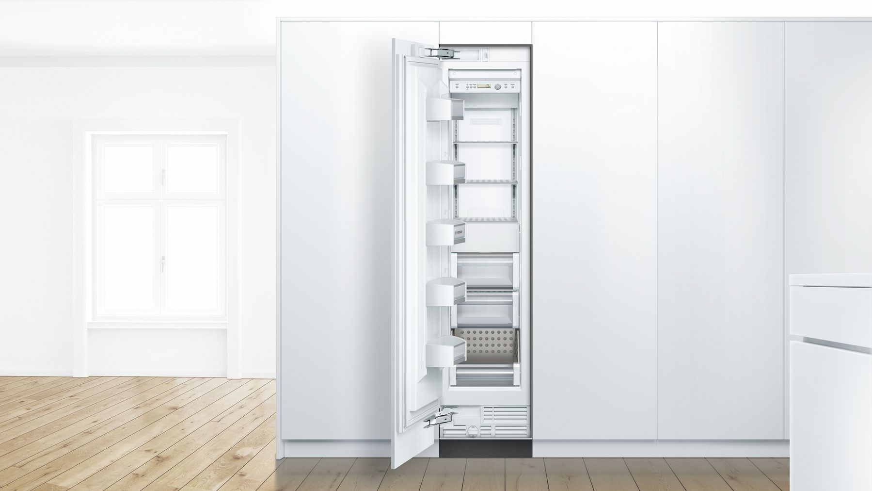 "Model: B18IF800SP | Bosch 18"" Built-In Single Door Refrigerator, B18IF800SP, Custom Panel (panel not included)"