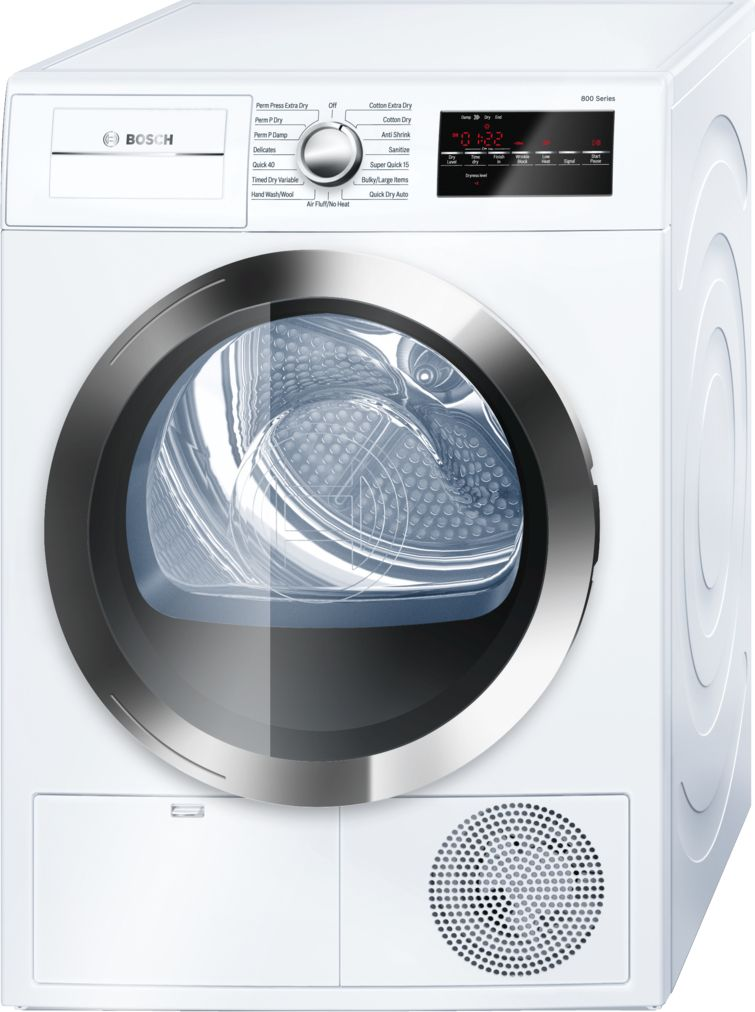 "Bosch 800 Series24"" Compact Condensation Dryer, WTG86402UC, White/Chrome"