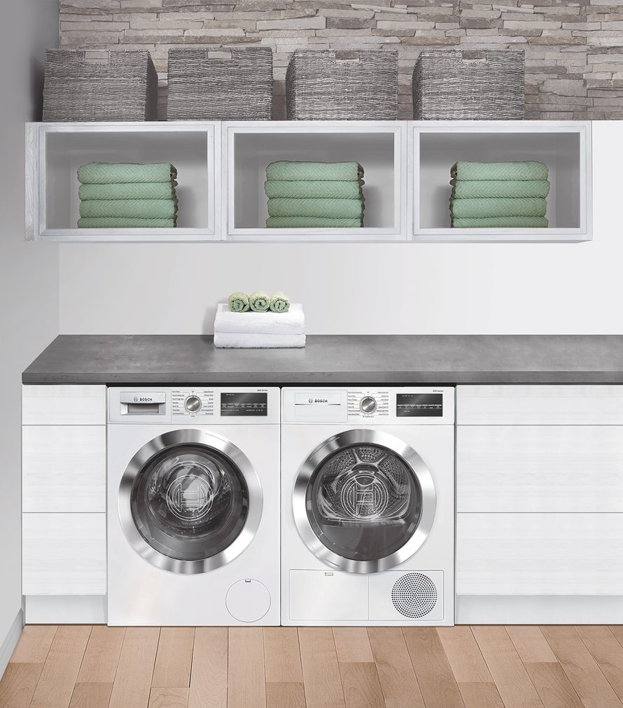 "Model: WTG86402UC | Bosch 800 Series24"" Compact Condensation Dryer, WTG86402UC, White/Chrome"