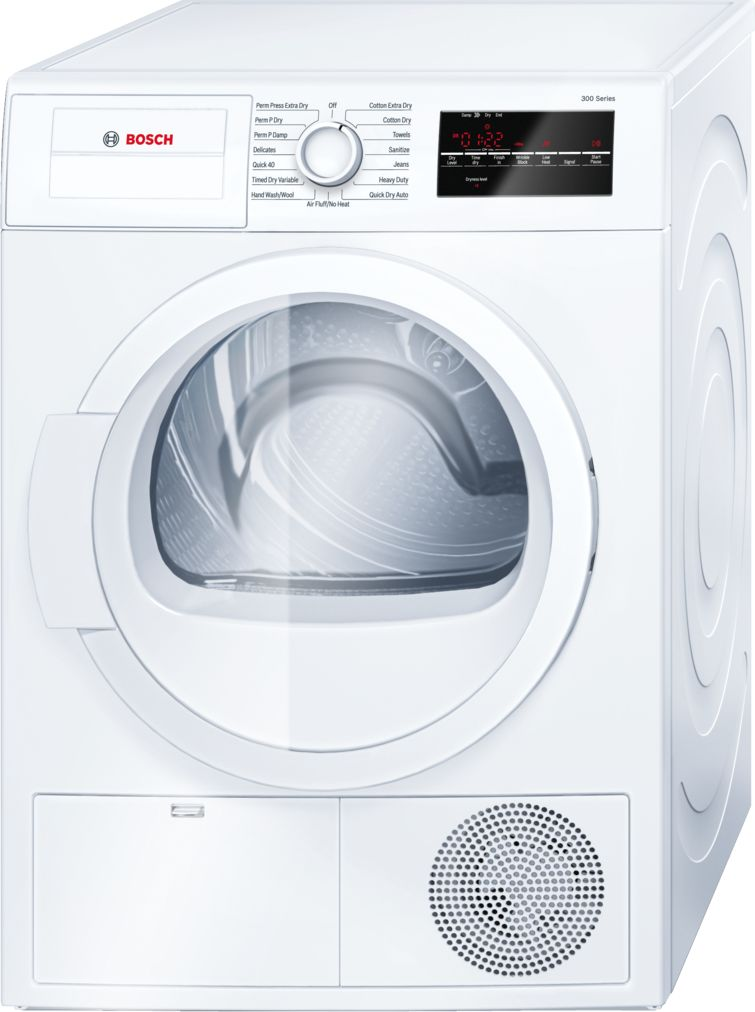 "Bosch 300 Series24"" Compact Condensation Dryer, WTG86400UC, White"