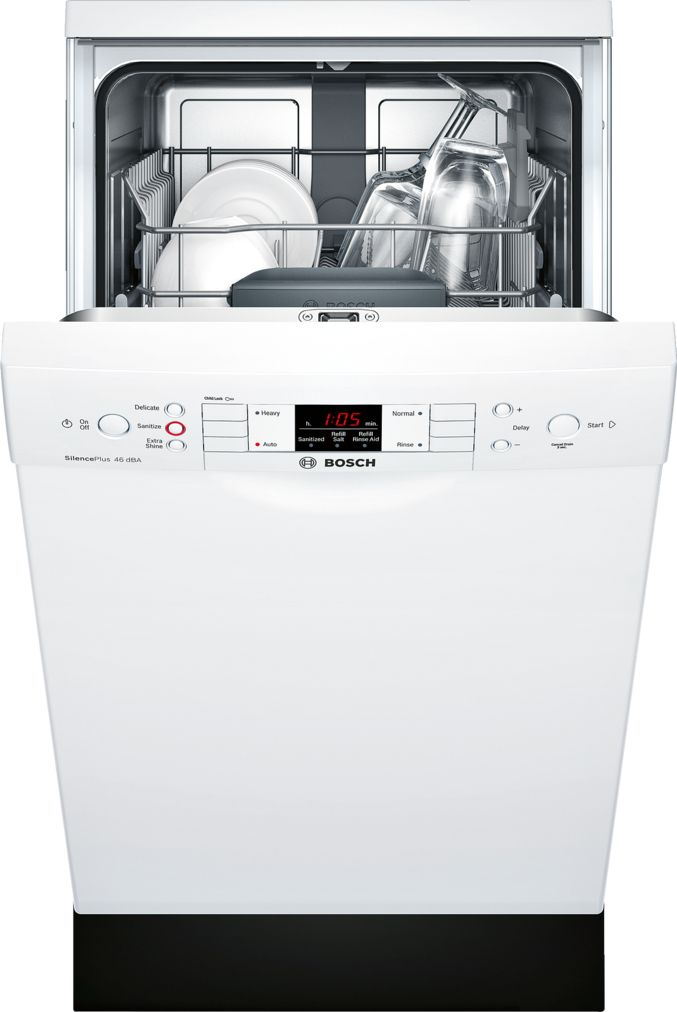 "Model: SPE53U52UC | Bosch 300 Series 18"" Special Application Recessed Handle Dishwasher SPE53U52UC  White"
