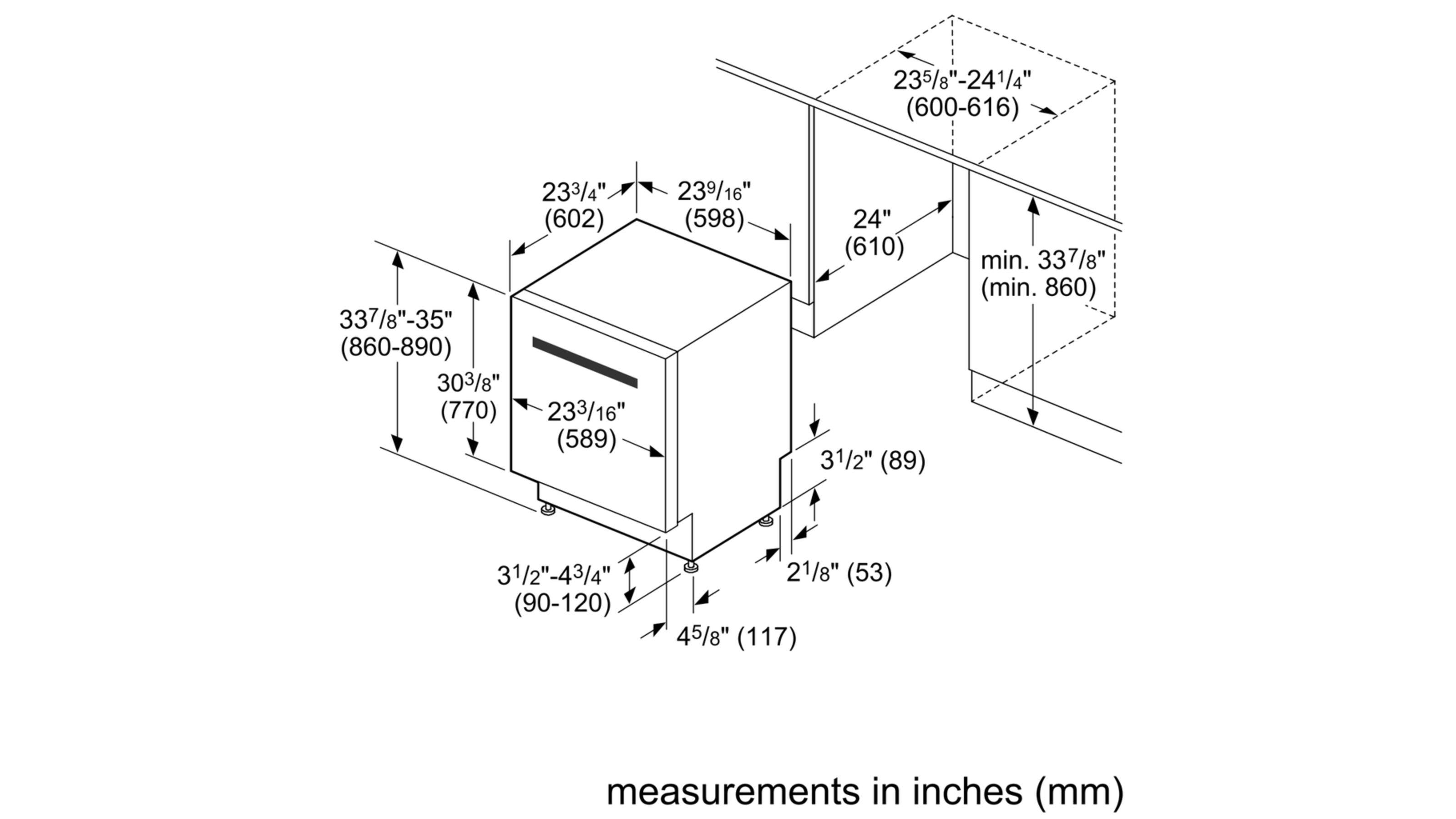 "Model: SHXM78W56N | Bosch 800 Series24"" Bar Handle DishwasherSHXM78W56NBlack"