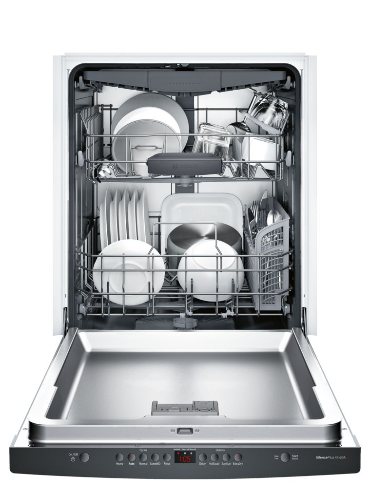 "Model: SHSM63W56N | Bosch 300 Series24"" Scoop Handle DishwasherSHSM63W56NBlack"