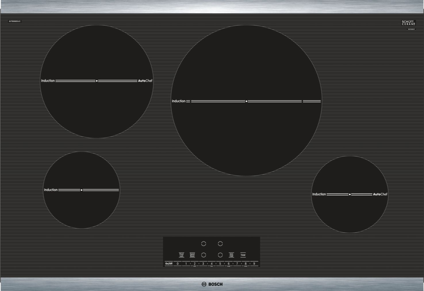 "Bosch 800 Series30"" Induction Cooktop, NIT8068SUC, Black with Stainless Steel Frame"
