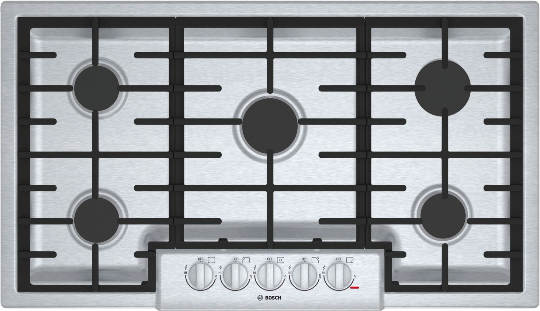 "Bosch 800 Series36"" 5 Burner Gas Cooktop, NGM8656UC, Stainless Steel"