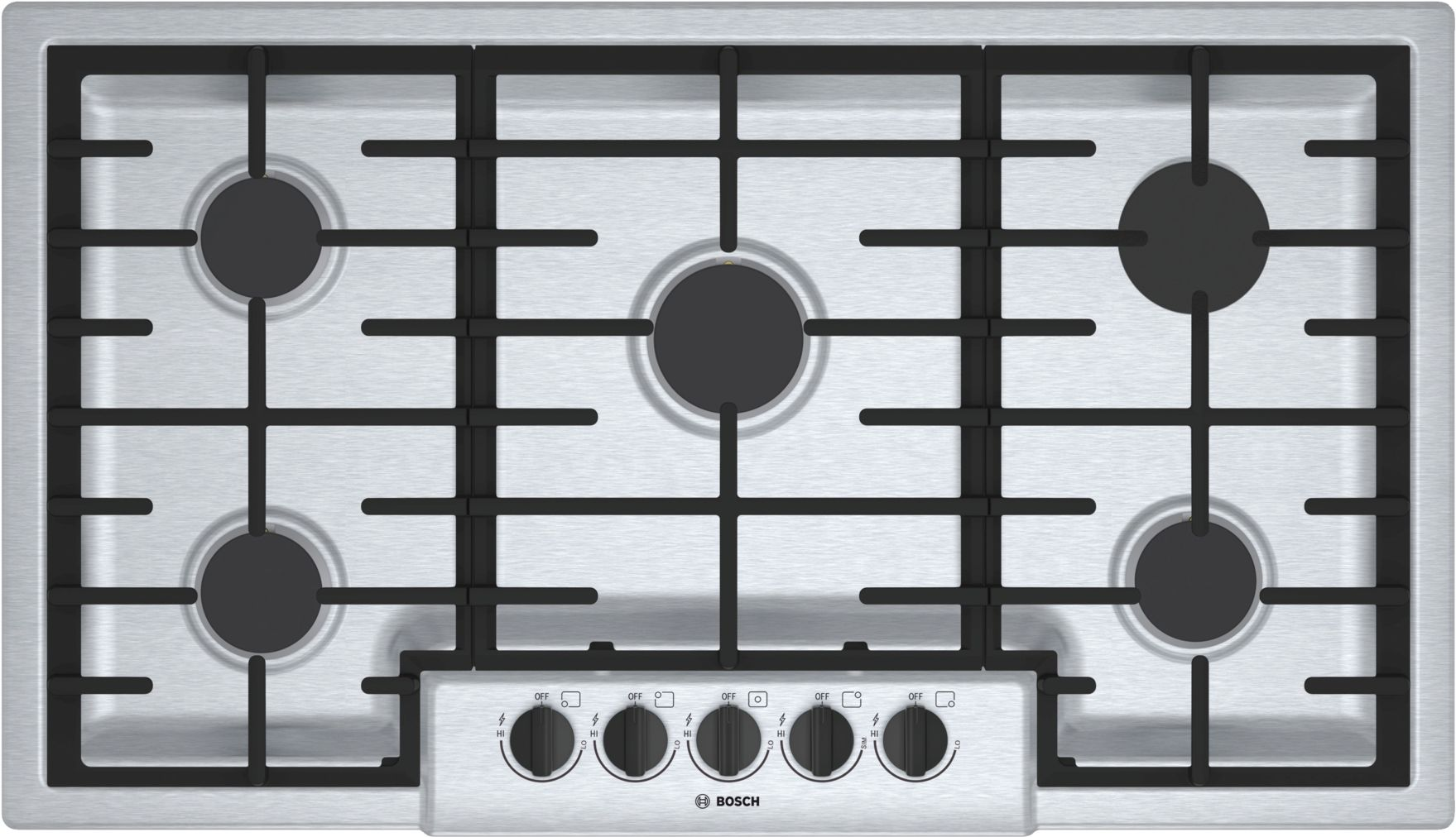 "Bosch 500 Series36"" 5 Burner Gas Cooktop, NGM5656UC, Stainless Steel"